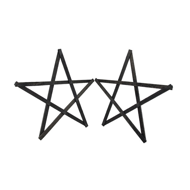 Set Of 2 Rustic Dark Gray Weathered Wood Stars 20 Decorative Plaques