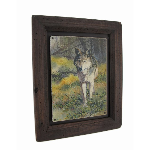 Big Sky Carvers Grey Wolf Wood Frame Wall Art Prints
