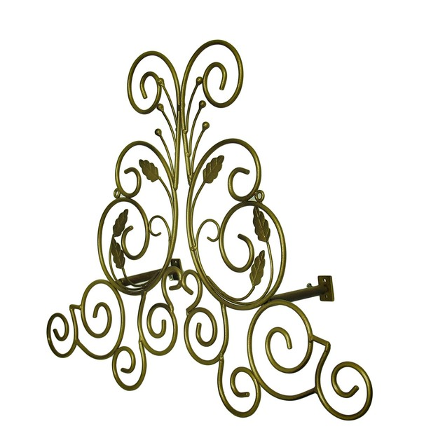 Bronze Finish Leaf Scroll Metal Drapery Crown/Wall Window Treatment Swag