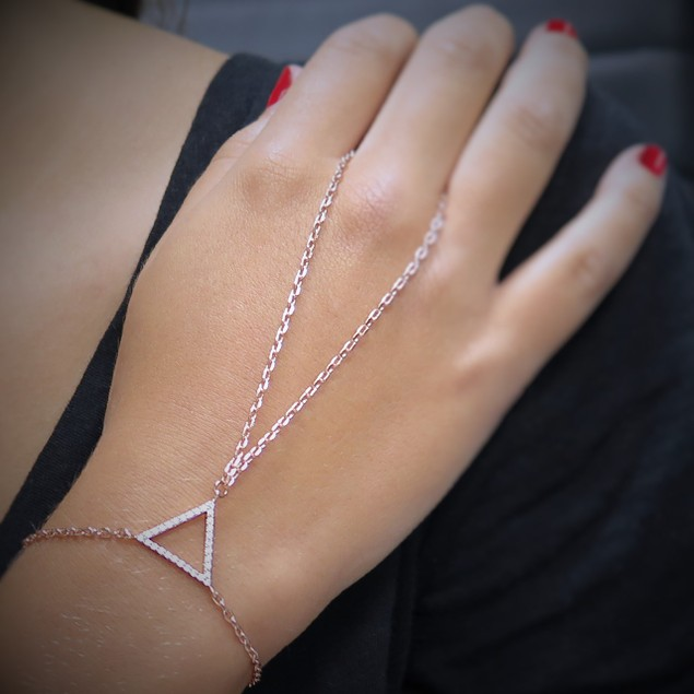 Gold Plated Pave Triangle Hand Chain Bracelet - 3 Colors