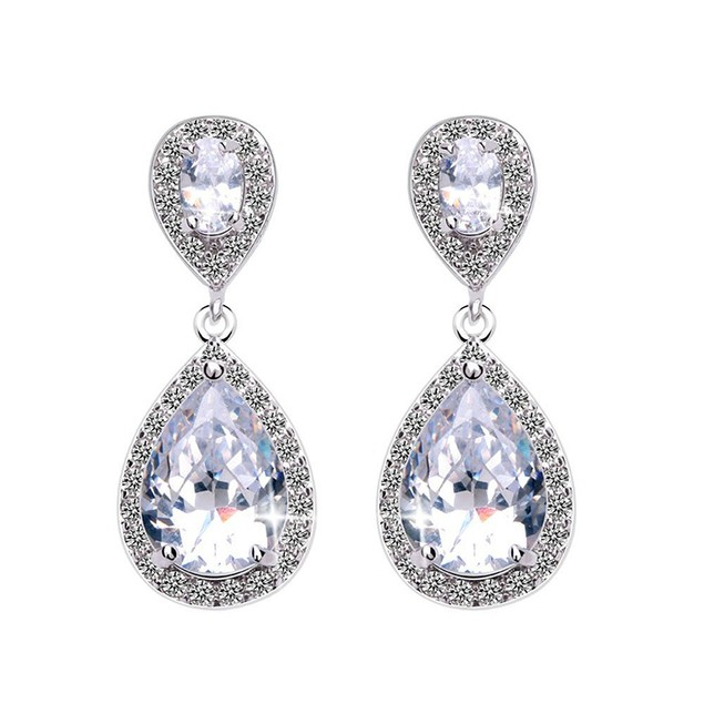 Tear Drop Cubic Zirconia Dangle Earrings