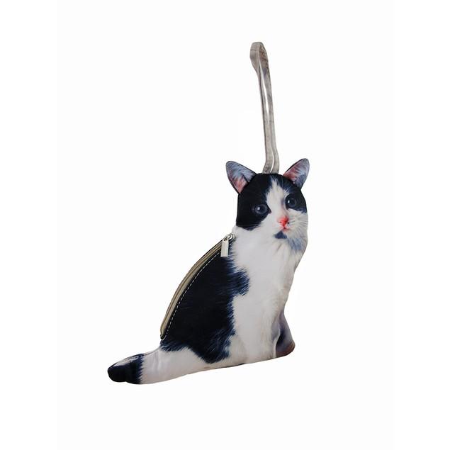 Realistic Black And White Cat Shaped Wristlet Womens Wristlet Handbags