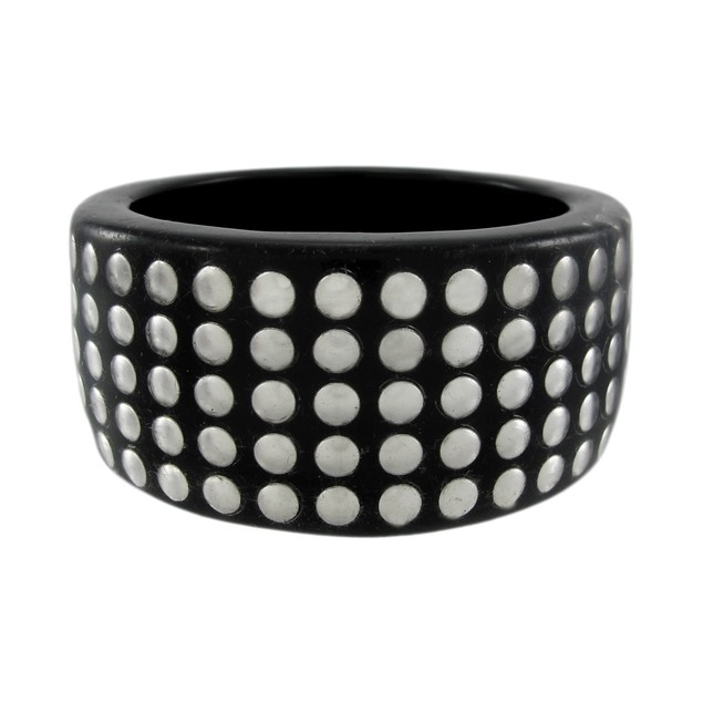 1 1/2 Inch Wide Silvertone Nailhead Studded Lucite Womens Bangle Bracelets