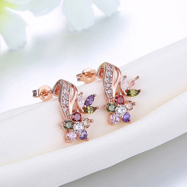 Crystal 18K Rose Gold Filled Mona Lisa Flower- Stud Earring