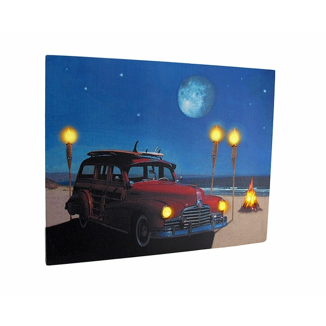 Vintage Woody Car On The Beach Led Lighted Canvas Prints
