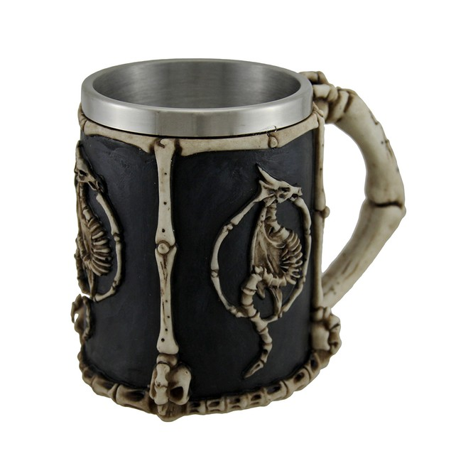 Dragon Skeletons And Bones Claw Handle Tankard Mugs