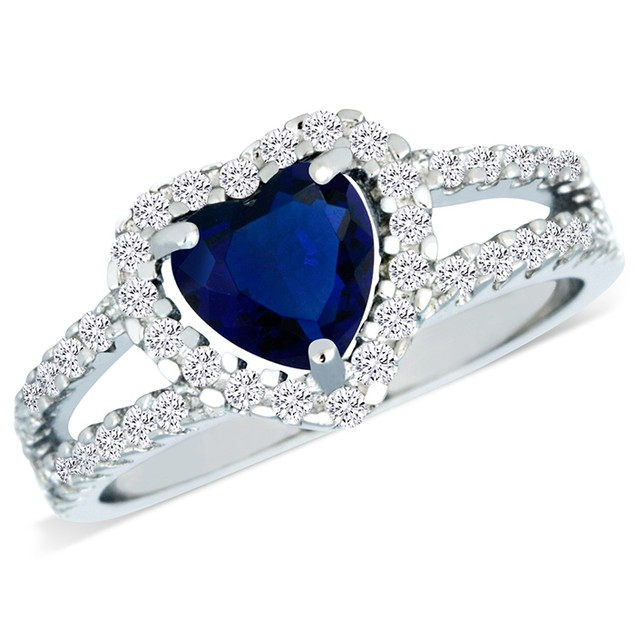 Sterling Silver Simulated Sapphire Diamond Heart Shaped Ring