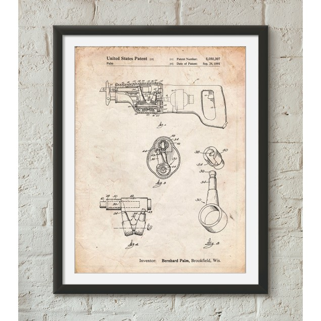 Reciprocating Saw Patent Poster