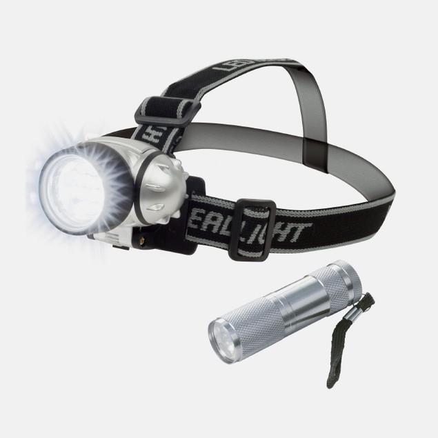 Stalwart 12 LED Headlamp PLUS 6 LED Flashlight Super Set