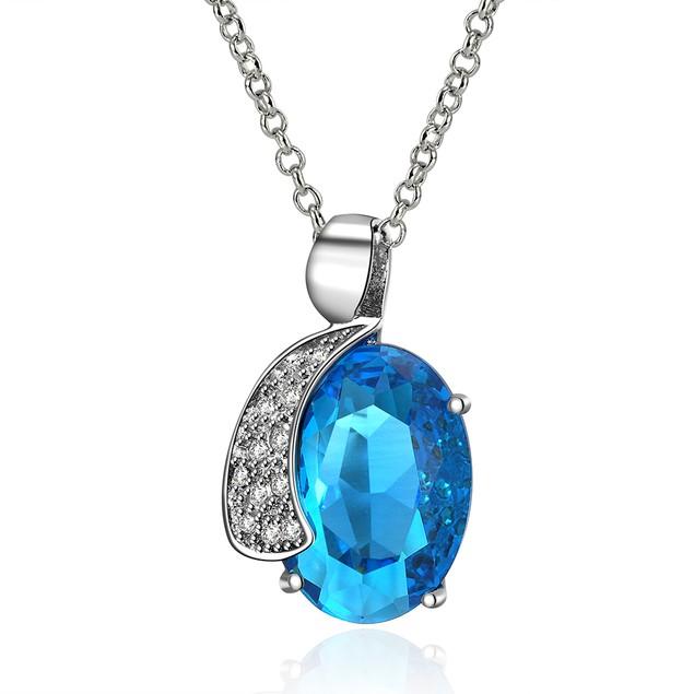 Full Moon Shine Imitation Sapphire Austrian Crystal Necklace