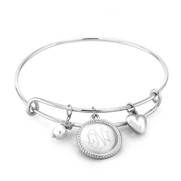 Personalized Round Braided Bangle Bracelet