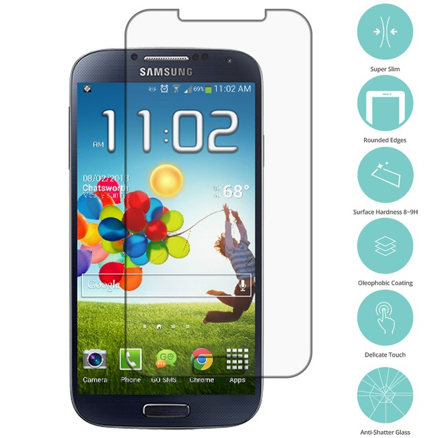 Samsung Galaxy S4 Tempered Glass Film Screen Protector Clear