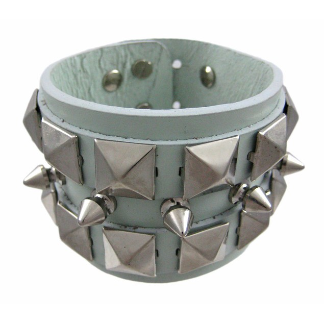 Green Leather Spiked & Studded Wristband Wrist Mens Leather Bracelets
