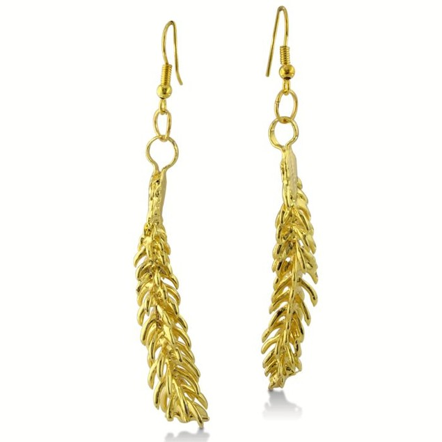 Natural 24K Overlay Leaf Earrings, Very Long and Dramatic