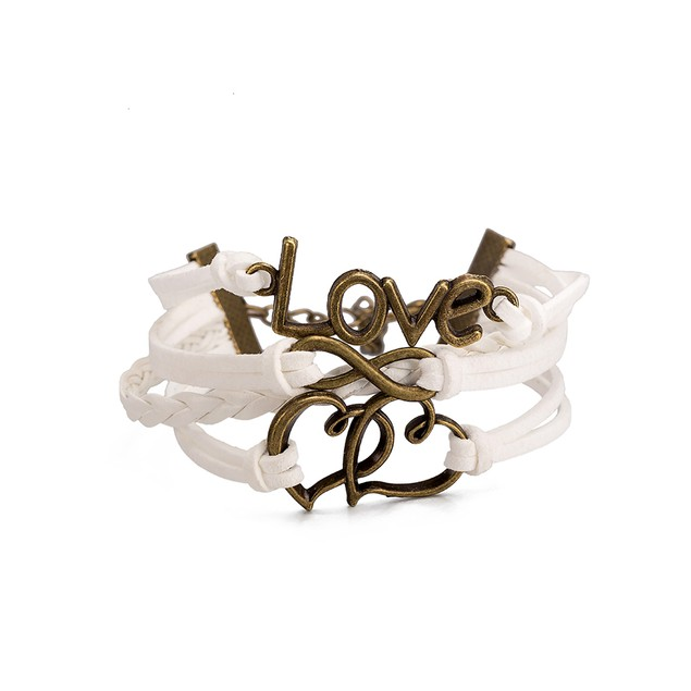 White Leather Intertwined Hearts Necklace