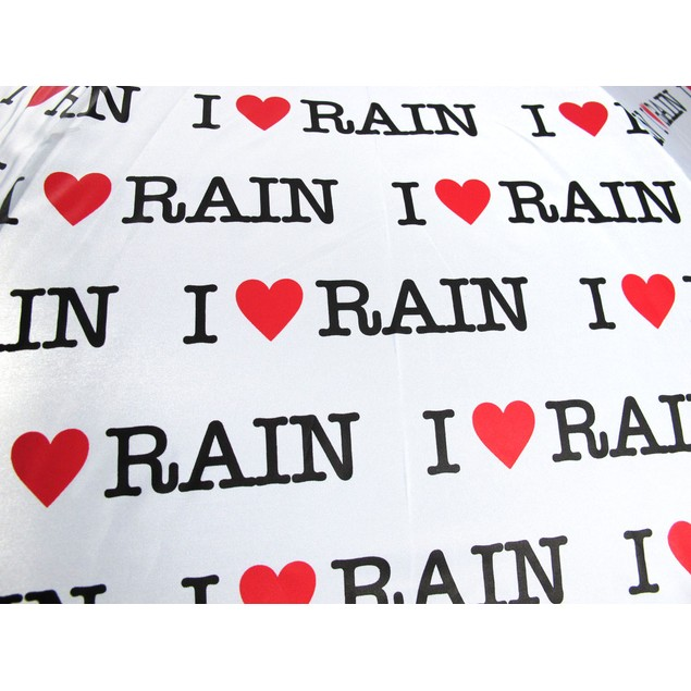 `I Love Rain` Auto Open Stick Umbrella Umbrellas