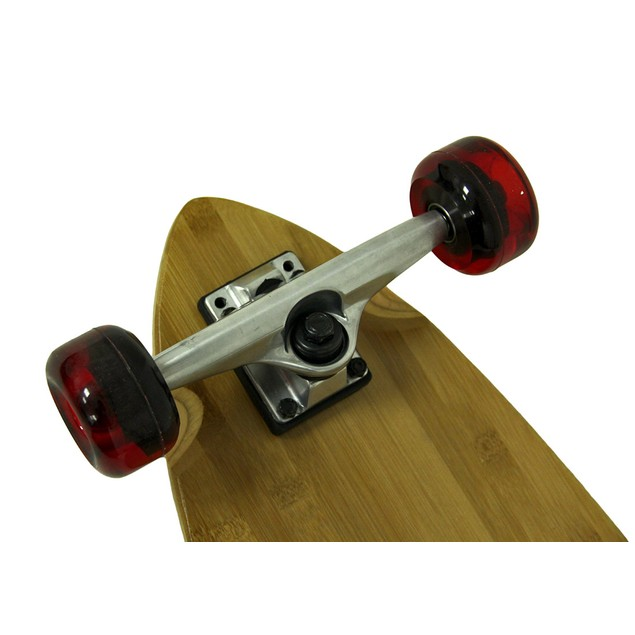 39 In. Bamboo Complete Split Tail Longboard W/Red Longboard Skateboards