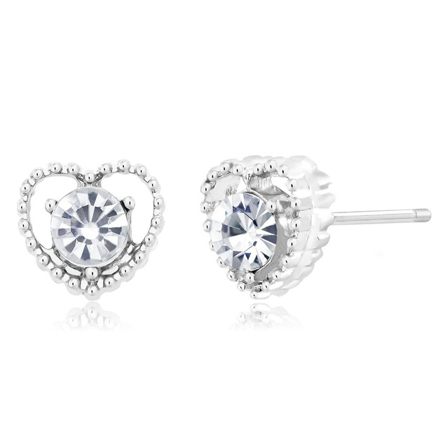 Cubic Zirconia Heart Earrings