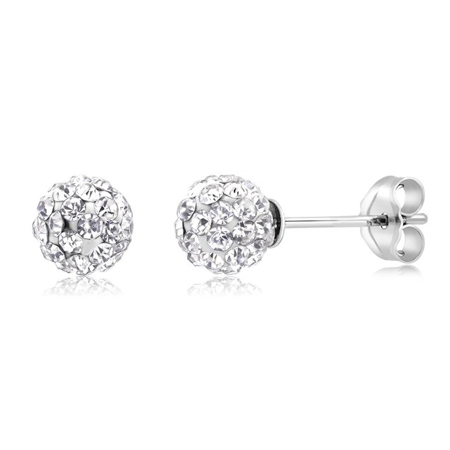 3-Pack Sterling Silver Crystal Ball Earrings
