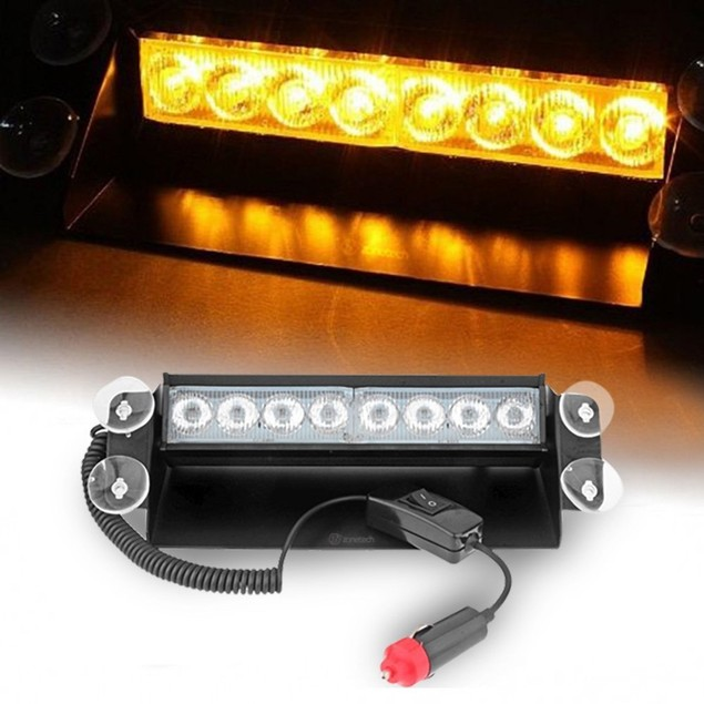 Zone Tech 8 LED Visor Dashboard Emergency Car Warning Strobe Light Amber