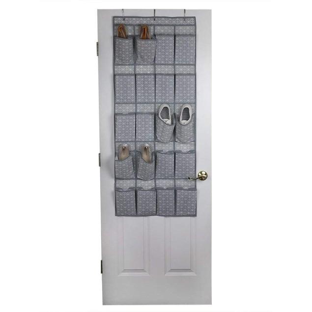 Grey Diamond Collection Non-Woven 20 Pocket Over The Door Shoe Organizer