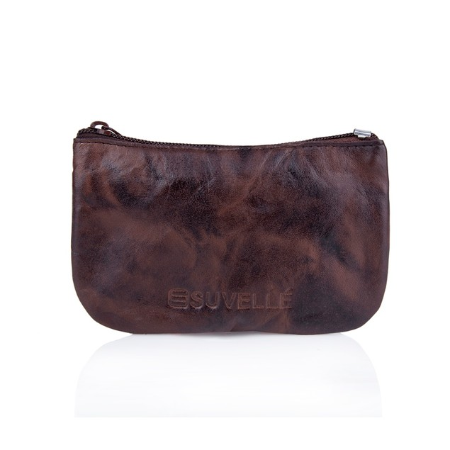 Suvelle Genuine Leather Zippered Coin Pouch