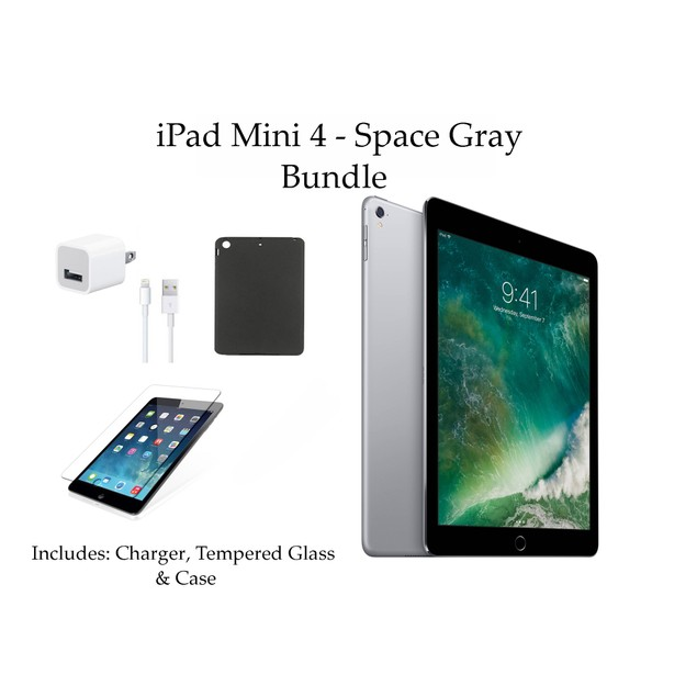 "Apple 7.9"" iPad Mini 4 128GB Bundle (Tempered Glass, Case, Charger)"