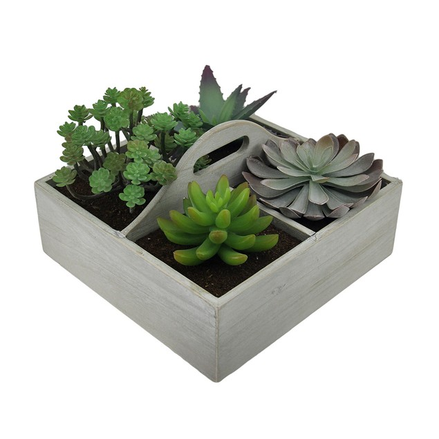Artificial Succulent Plant Garden In Wooden Box Planter Boxes