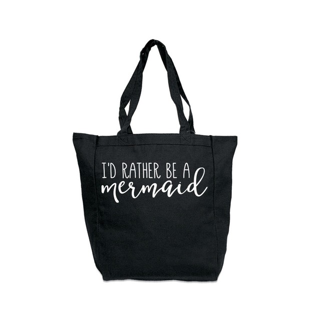 I'd Rather Be a Mermaid Black Tote Bag