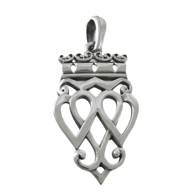 Sterling Silver Luckenbooth Pendant Scottish Love Womens Pendants
