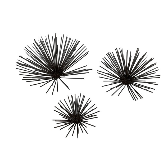 Set Of 3 Bursting Metal Star Wall Hangings Wall Sculptures