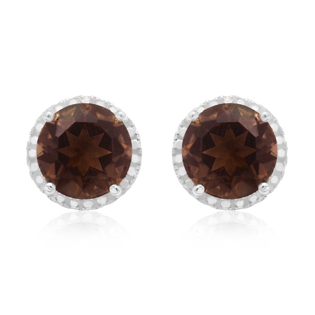 Sterling Silver 7 Carat Smoky Topaz Halo Stud Earrings