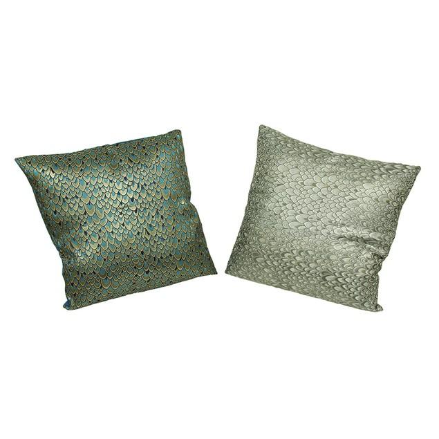 Set Of 2 Peacock Feather Print Decorative Throw Throw Pillows