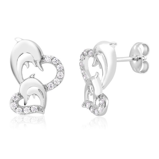Cubic Zirconia Heart & Dolphin Stud Earrings