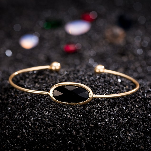 Gold Plated Onyx Center Gem Open Ended Bangle