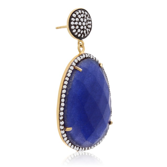 14k Gold 86ct Free Form Blue Sapphire and CZ Dangle Earrings
