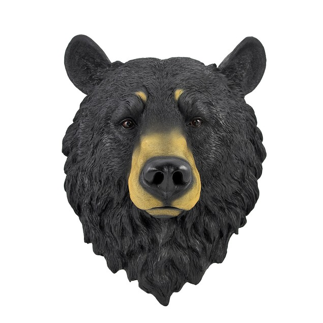 Black Bear Head Mount Wall Statue Bust Wall Sculptures