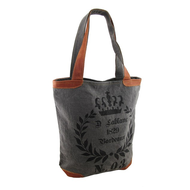 1829 Bordeaux No. 03 Grey Canvas Tote Bag Womens Tote Bags