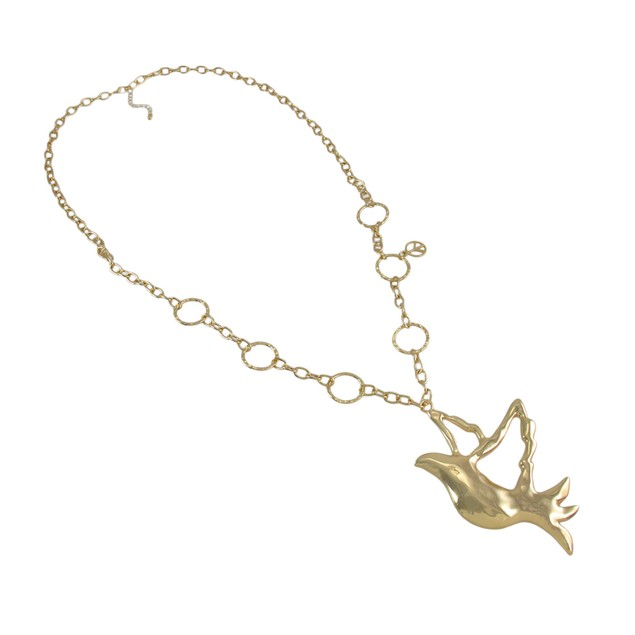 Goldtone Dove Necklace And Dangle Earrings Set Womens Earring And Necklace