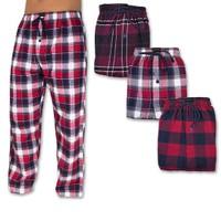 24-HOUR PRICE DROP: 2-Pack Andrew Scott Men's Flannel Fleece Pajama Lounge