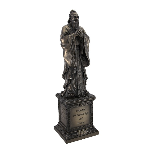 Chinese Philosopher Confucius On Engraved Pedestal Statues