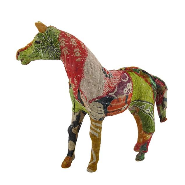 Vintage Sari Fabric Decorated Paper Mache Horse Sculptures