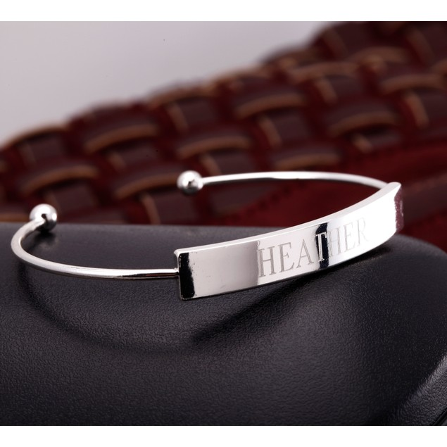 Personalized Gold Plated Bar Bangle - 3 Colors