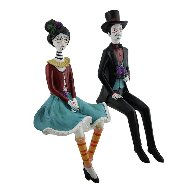 2 Pc. Day Of The Dead Couple In Calavera Makeup Shelf Sitters