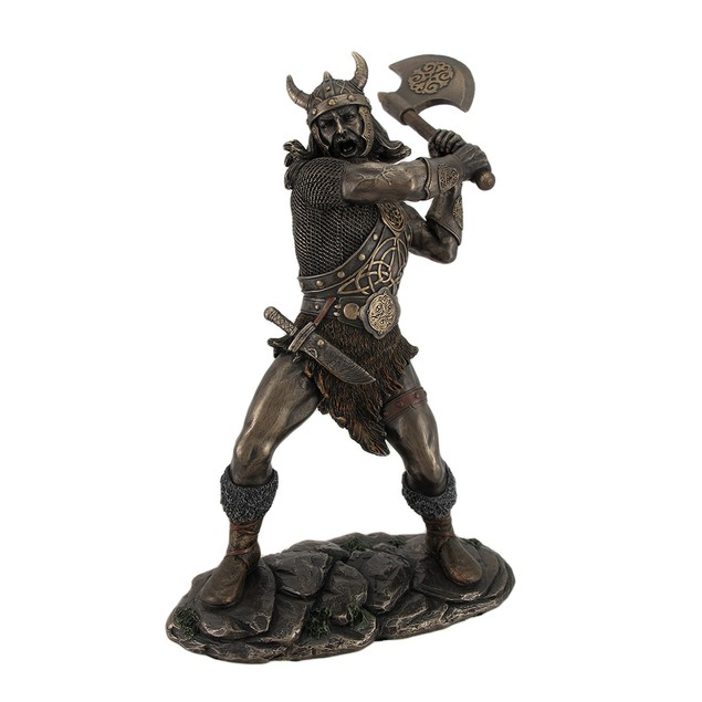 Viking Warrior Swinging And Axe Bronze Finish Statues