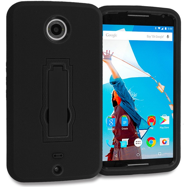 Motorola Google Nexus 6 Hybrid Heavy Duty Armor Case Cover with Stand