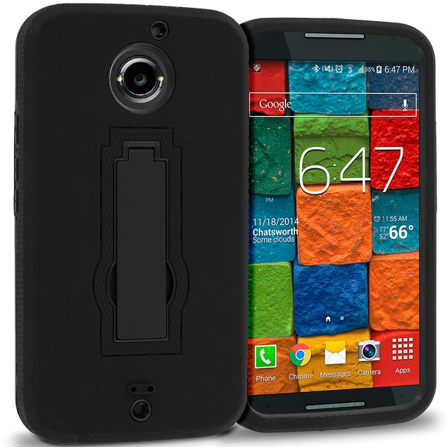 Motorola Moto X (2014) Hybrid Heavy Duty Armor Case Cover with Stand