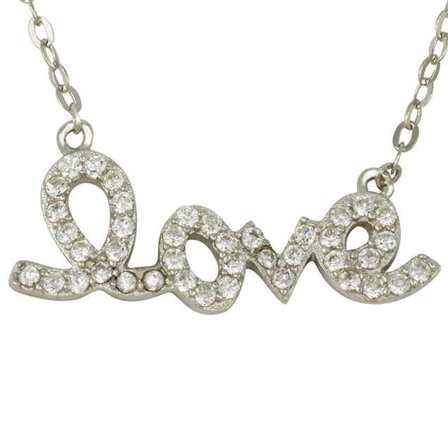 Sterling Silver Simulated Diamond Script Love Necklace