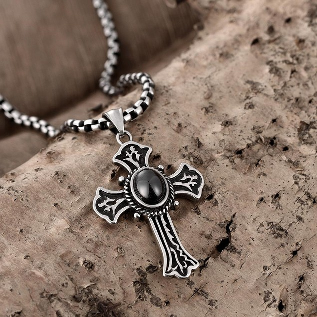 Alpha Steel Black Pearl Cross Stainless Steel Necklace