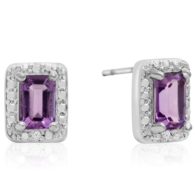 1 Ct Emerald Shape Amethyst and Halo Diamond Earrings